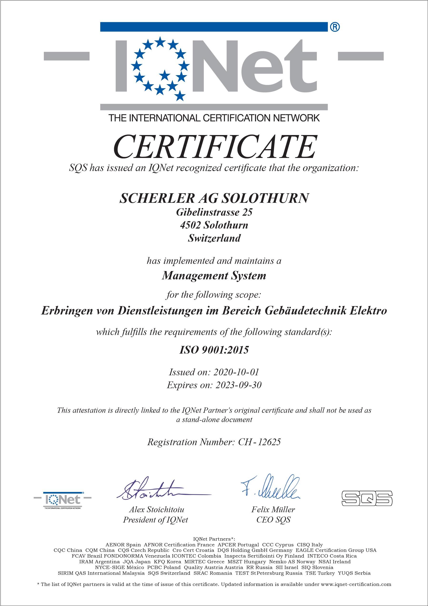 ISO9001-Scherler AG Solothurn